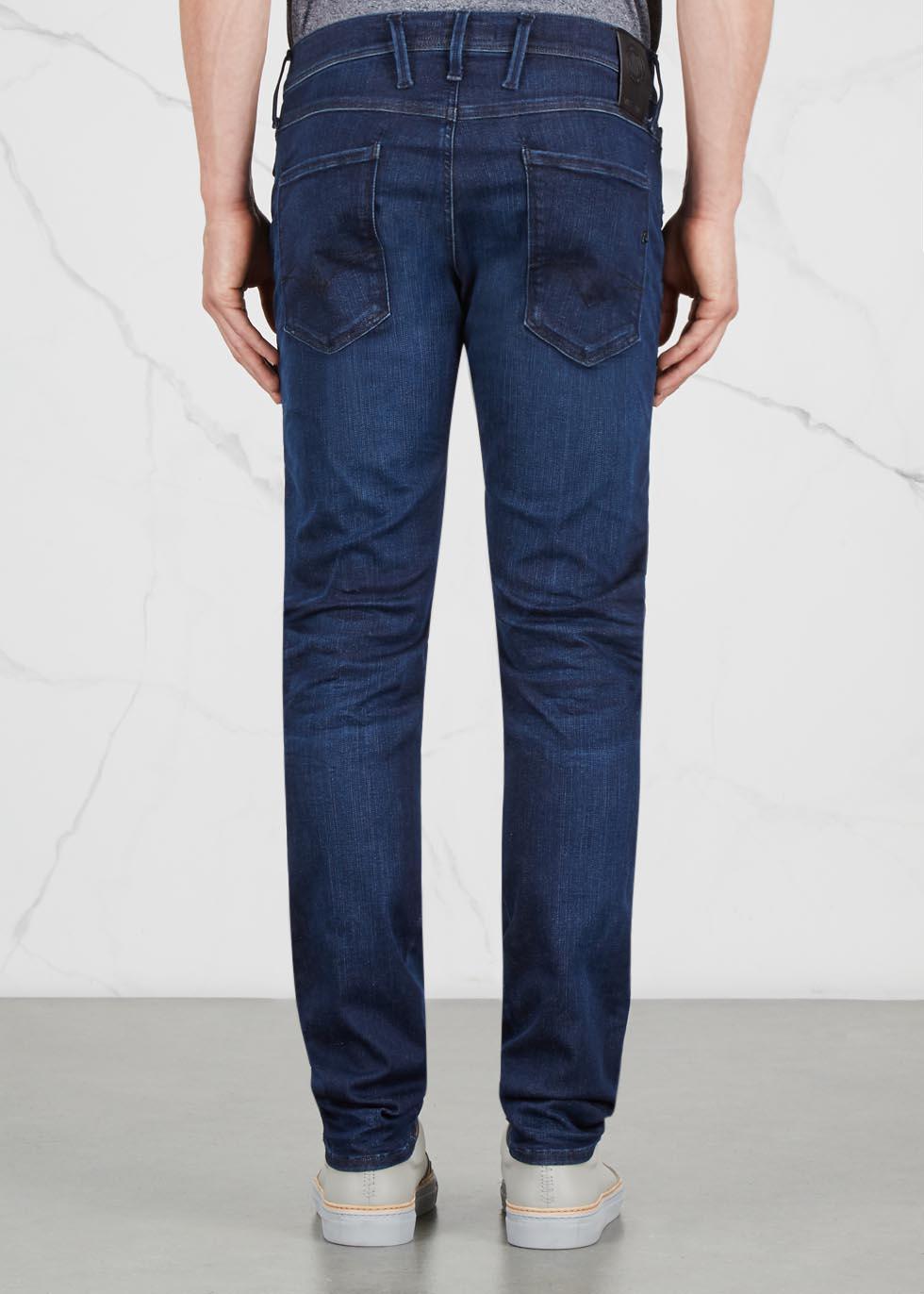 Anbass Hyperflex indigo slim-leg jeans - Replay