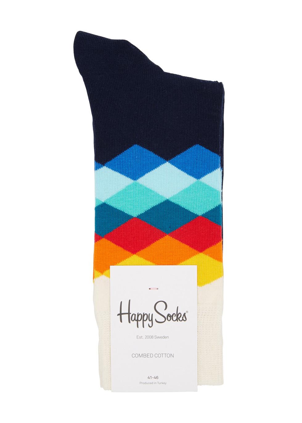Faded Diamond navy cotton blend socks - Happy Socks