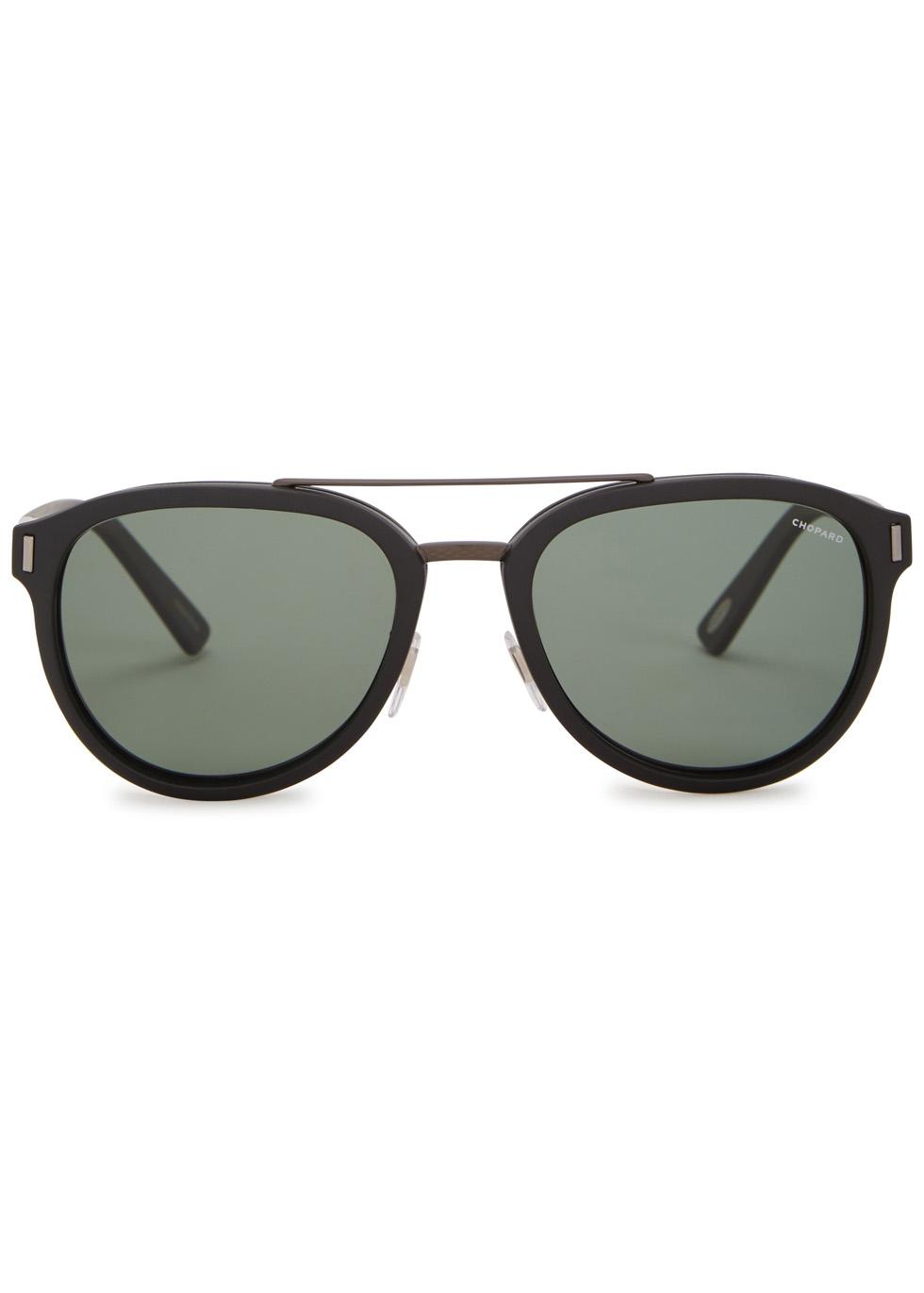 Matte black polarised aviator-style sunglasses - Chopard