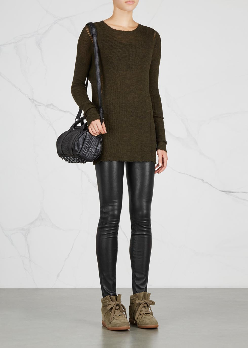 Black leather leggings - Helmut Lang