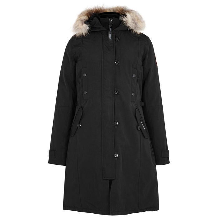 Canada Goose Furs KENSINGTON BLACK FUR-TRIMMED PARKA