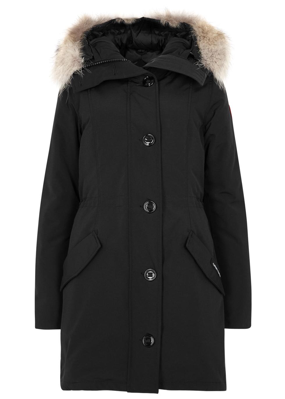 Rossclair black fur-trimmed parka - Canada Goose