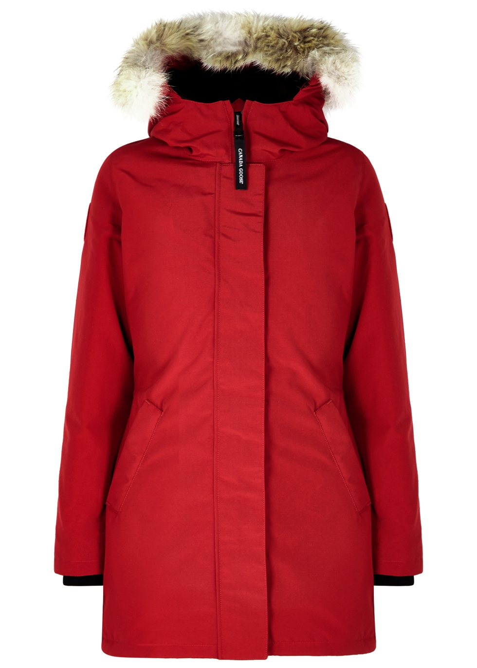 Victoria red fur-trimmed parka ...