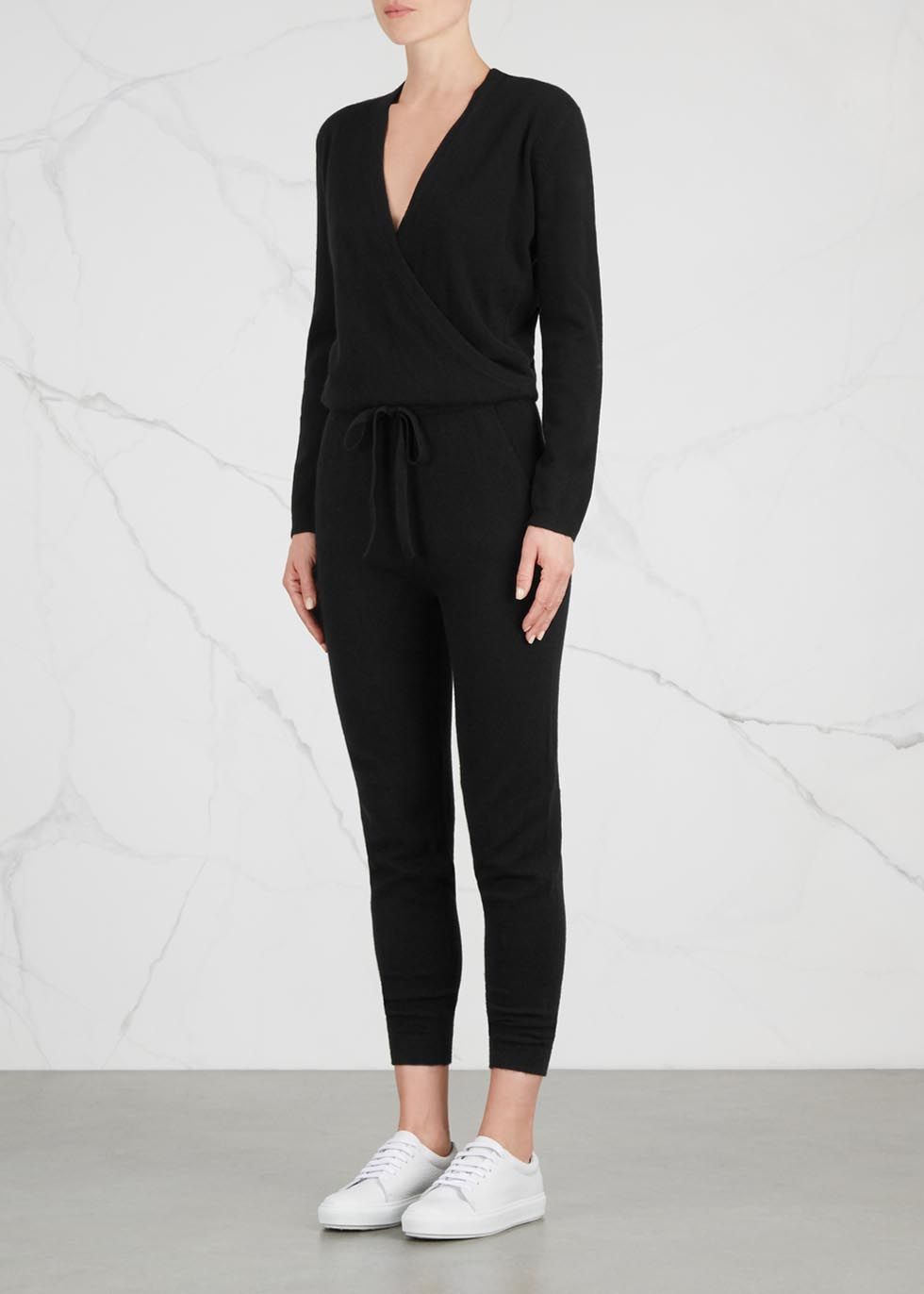 Lima wrap-effect cashmere jumpsuit - Le Kasha
