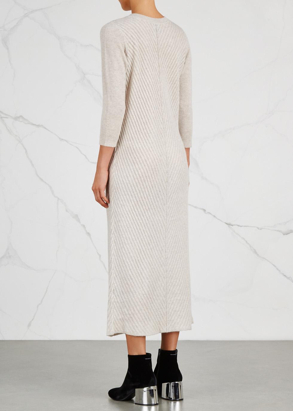 Cream melangé cashmere dress - Le Kasha