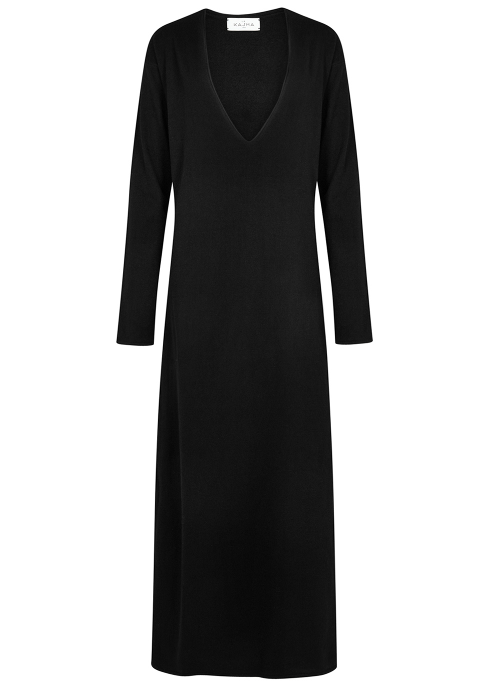 Phoenix black cashmere maxi dress - Le Kasha