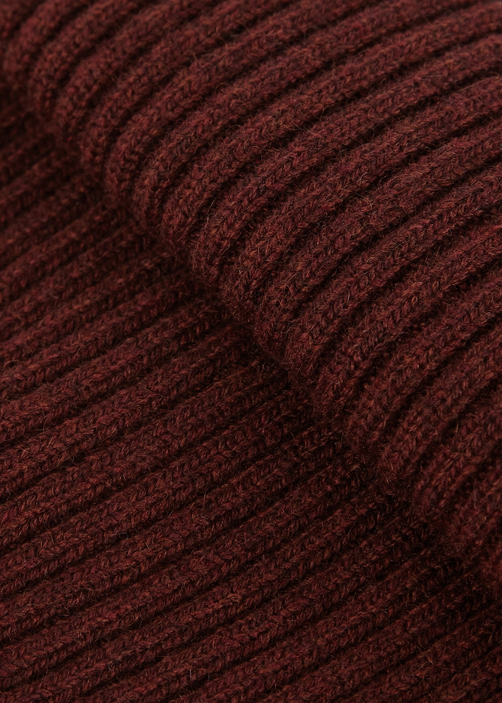 Burgundy ribbed cashmere beanie - Paul Smith