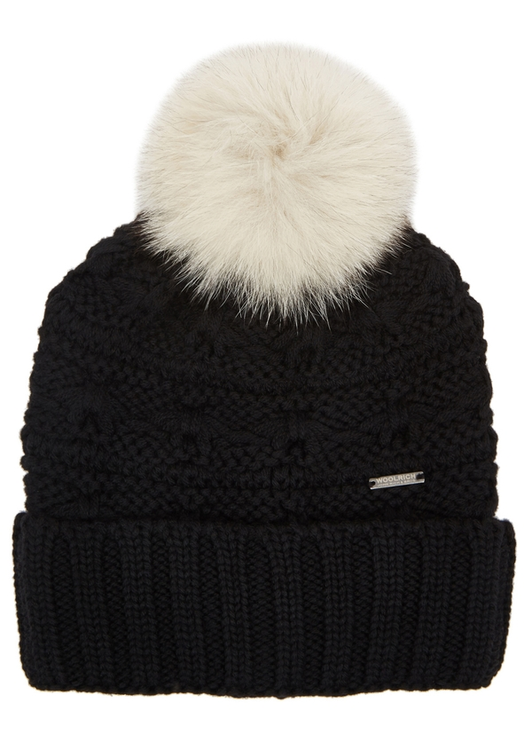 Serenity black fur-trimmed wool beanie ... ba7f8f1af96