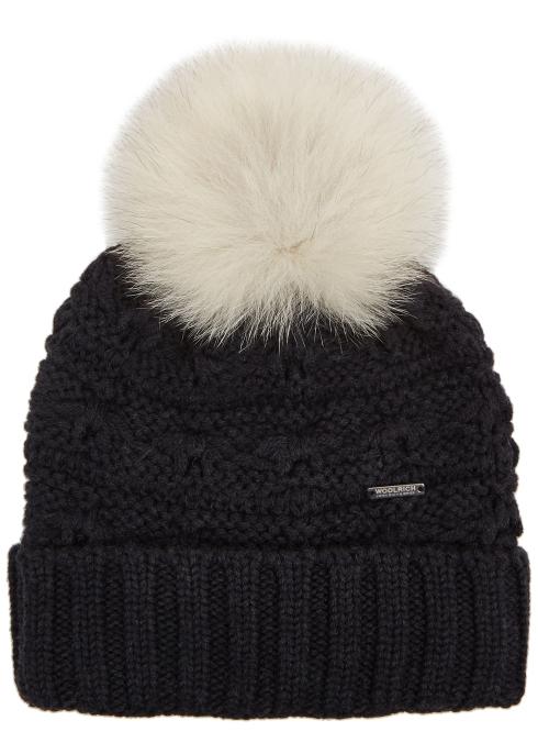 2a3dd42b6f9 Woolrich Serenity grey fur pompom wool beanie - Harvey Nichols