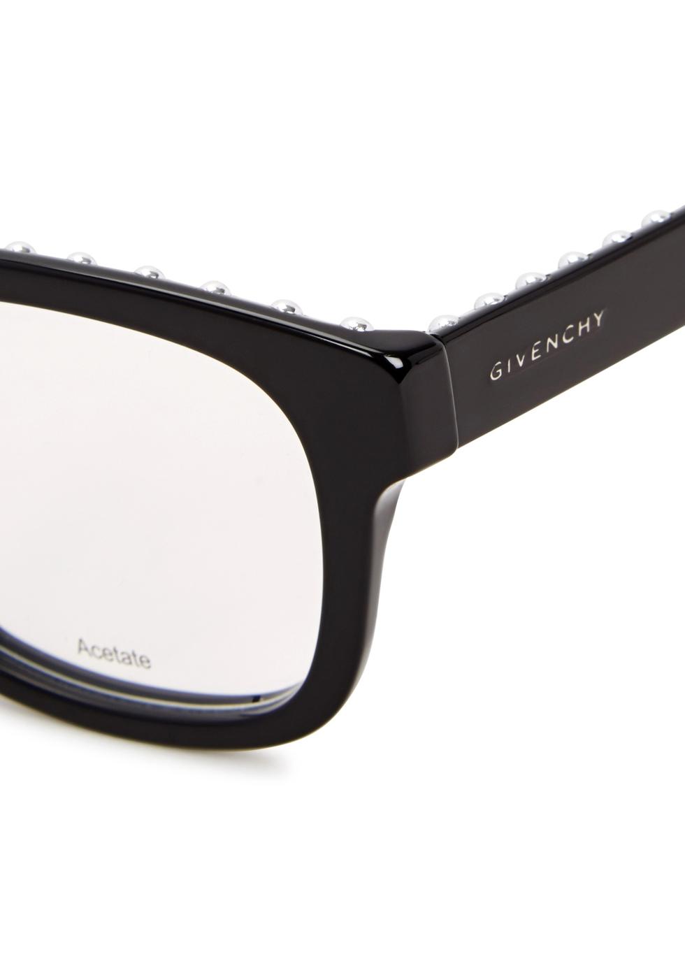 Black studded wayfarer-style optical glasses - Givenchy