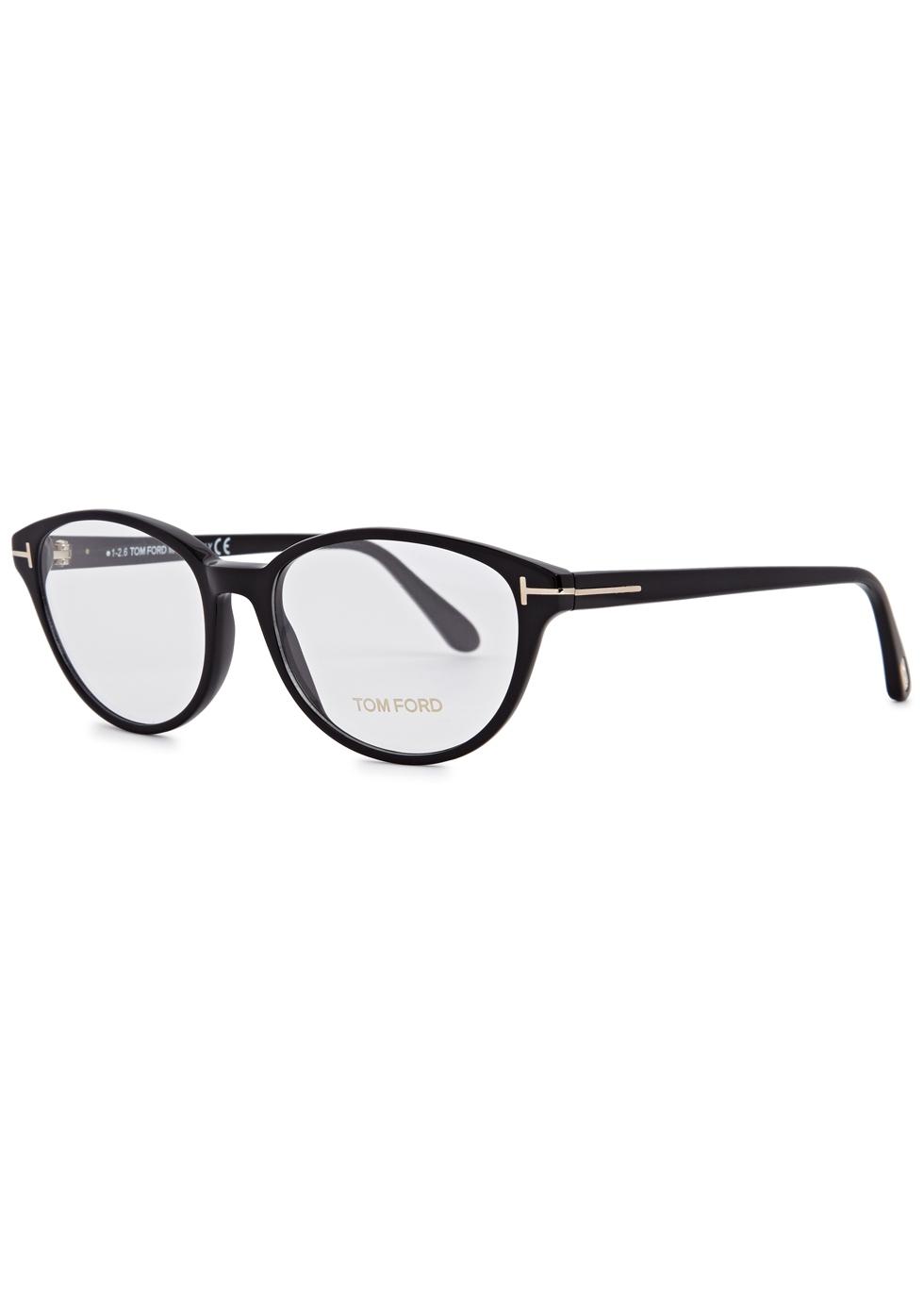 Black oval-frame optical glasses - Tom Ford