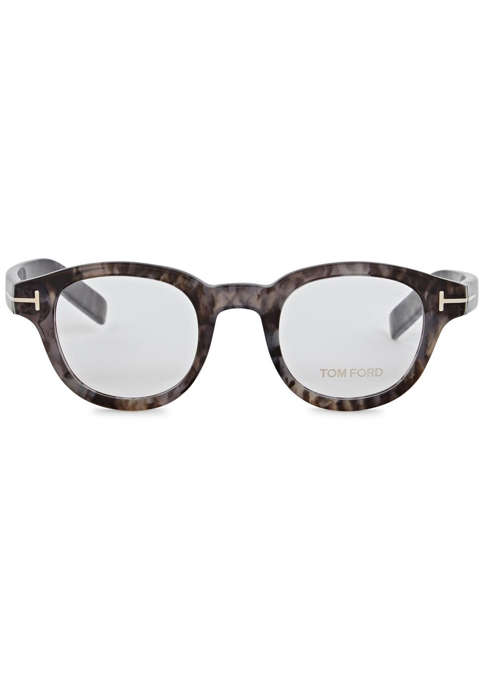 Marbled round-frame optical glasses - Tom Ford
