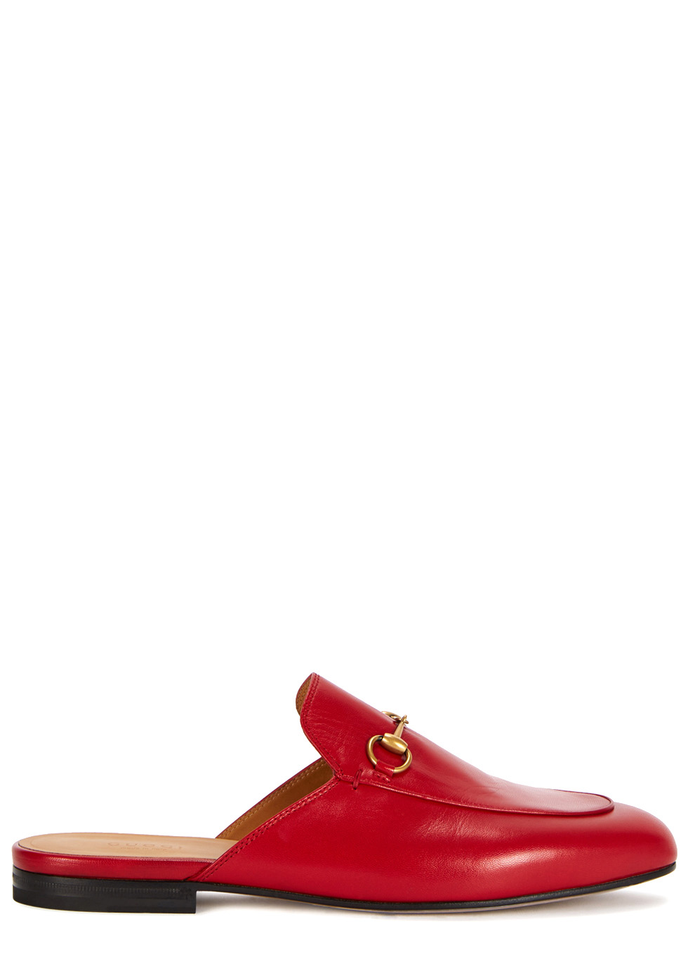Gucci Princetown red leather backless