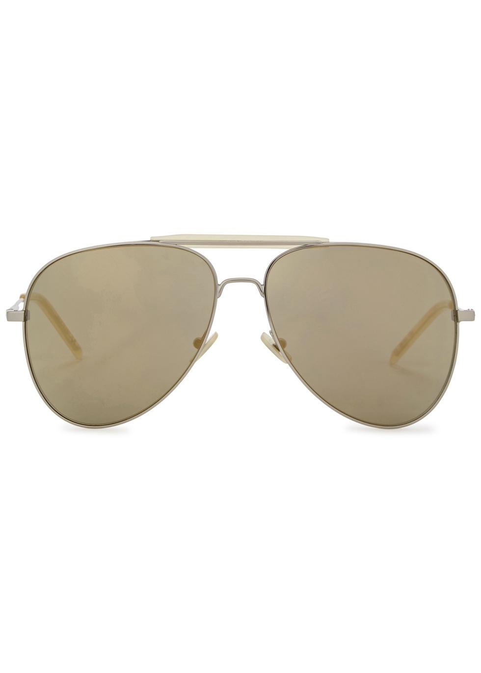 SL 85 silver tone aviator-style sunglasses - Saint Laurent