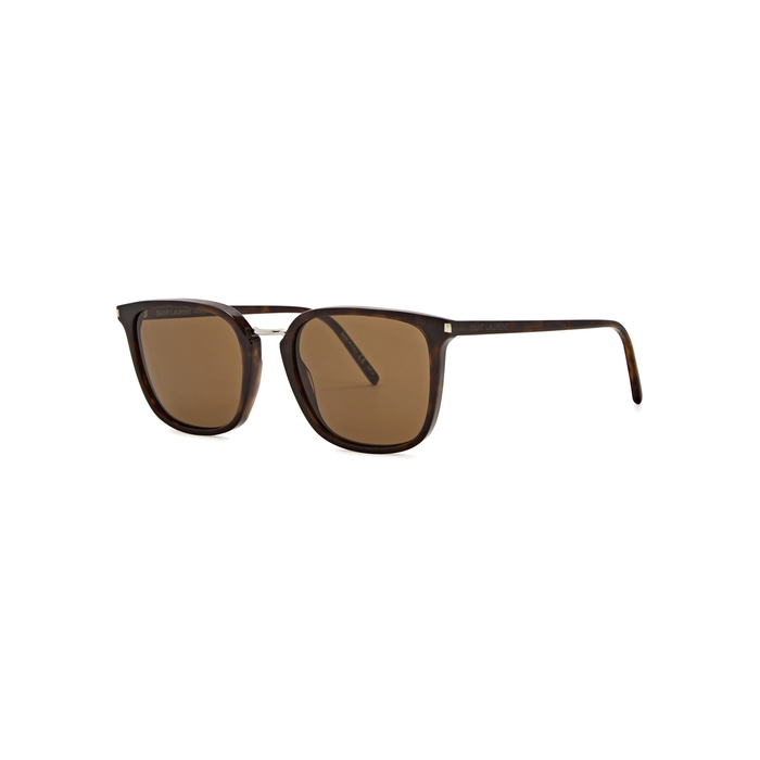 Saint Laurent SL 131 Tortoiseshell Square-frame Sunglasses