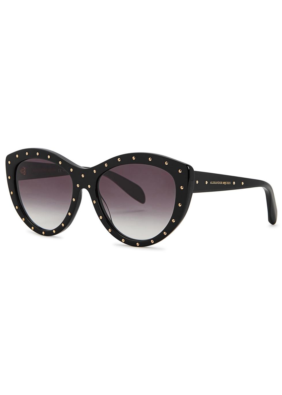 Black studded cat-eye sunglasses - Alexander McQueen