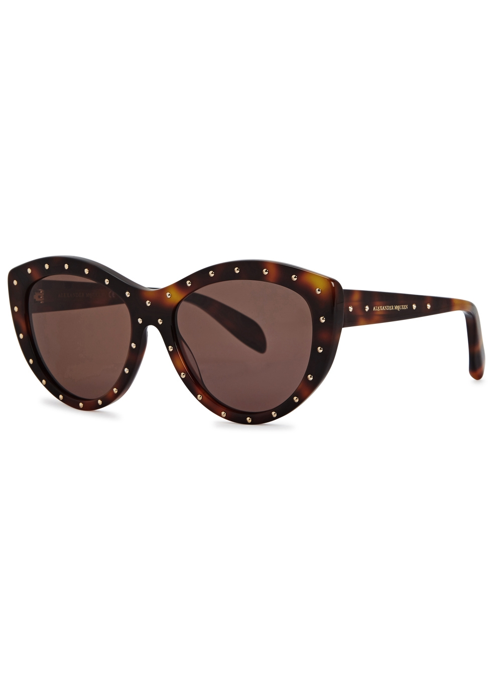 Dark brown studded cat-eye sunglasses - Alexander McQueen