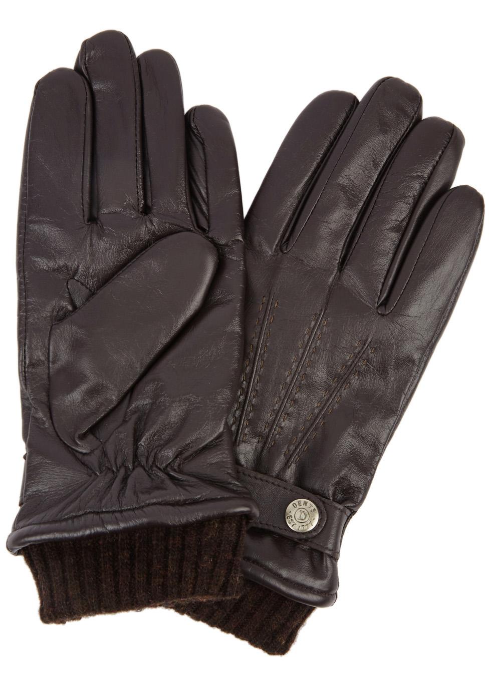 DENTS Henley Touchscreen Leather Gloves - Dark Brown