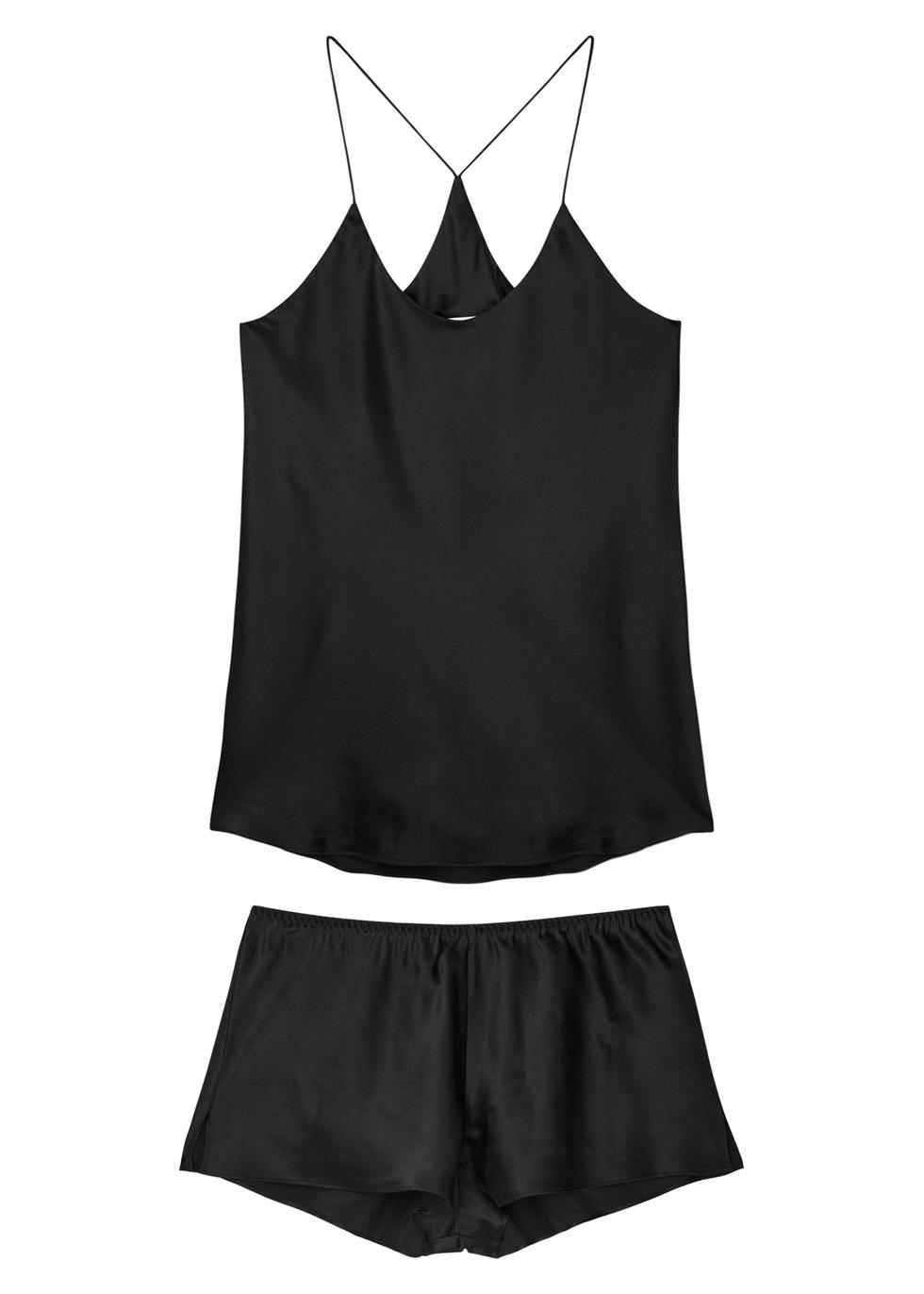 Bella black silk pyjama set - Olivia von Halle