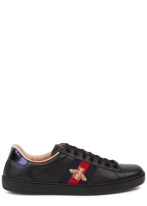 ba88d77d101 Gucci New Ace black leather trainers - Harvey Nichols