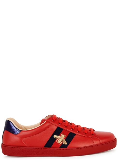 246ac2ec76e Gucci New Ace red leather trainers - Harvey Nichols