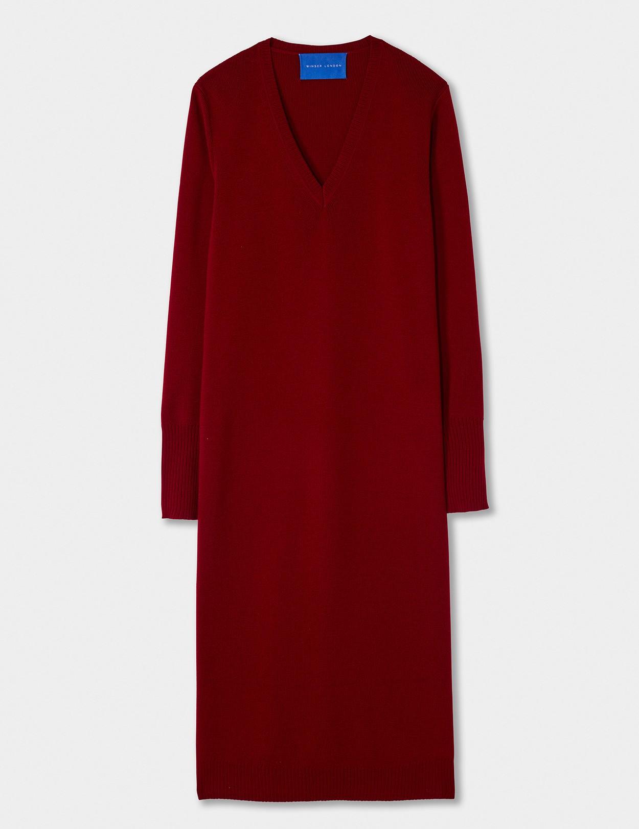 WINSER LONDON MERINO V NECK DRESS