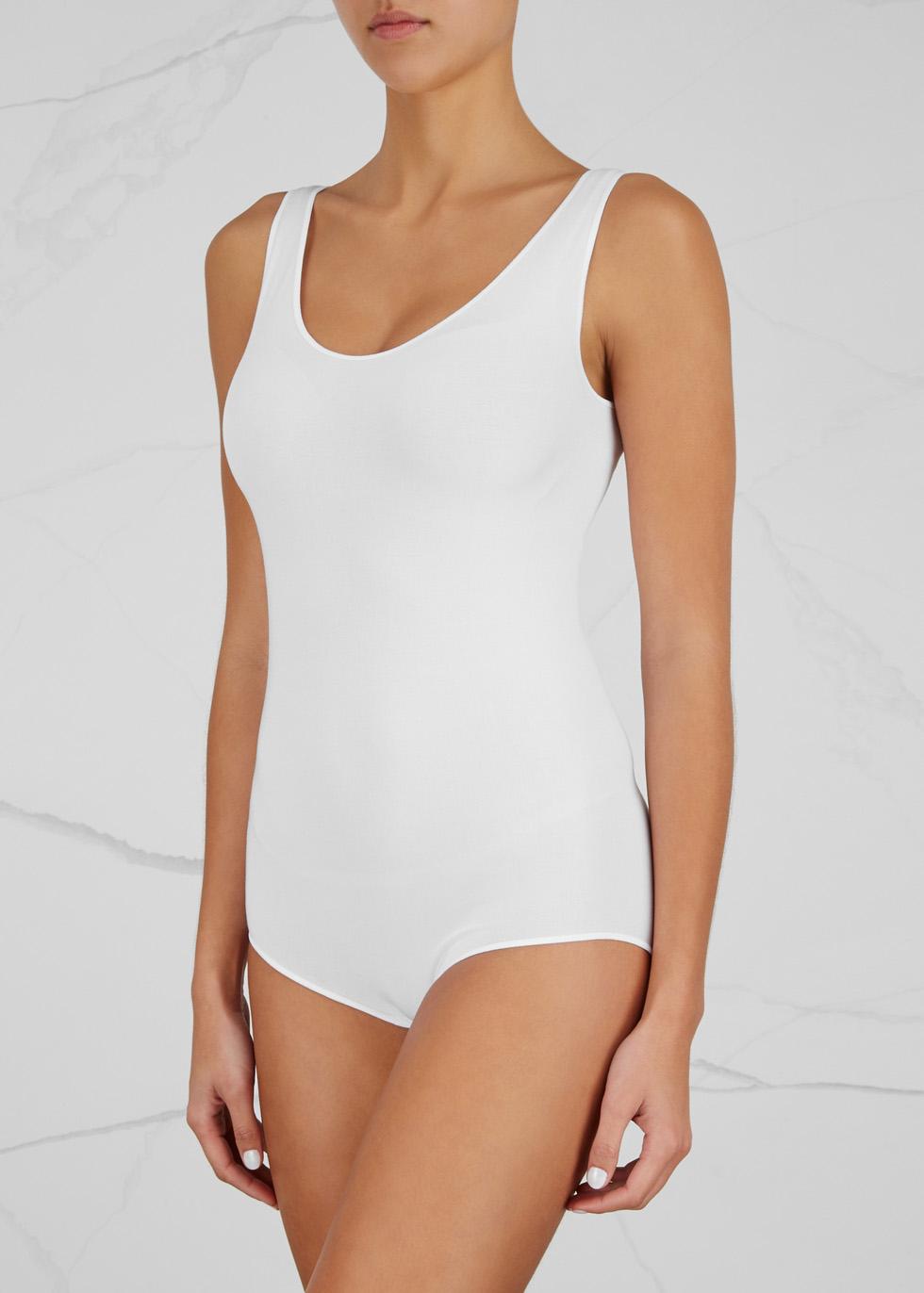 White seamless jersey bodysuit - Wolford