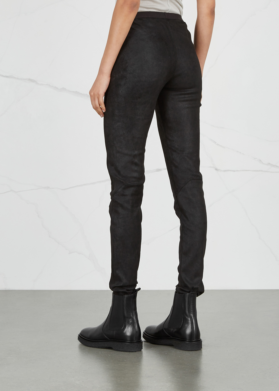 Charcoal stretch leather leggings - Rick Owens