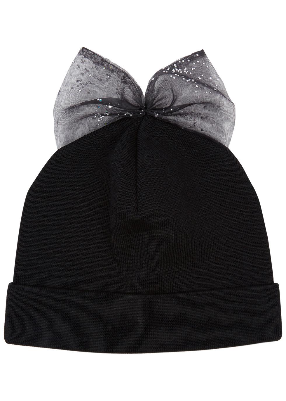 Black bow-embellished wool beanie - Federica Moretti