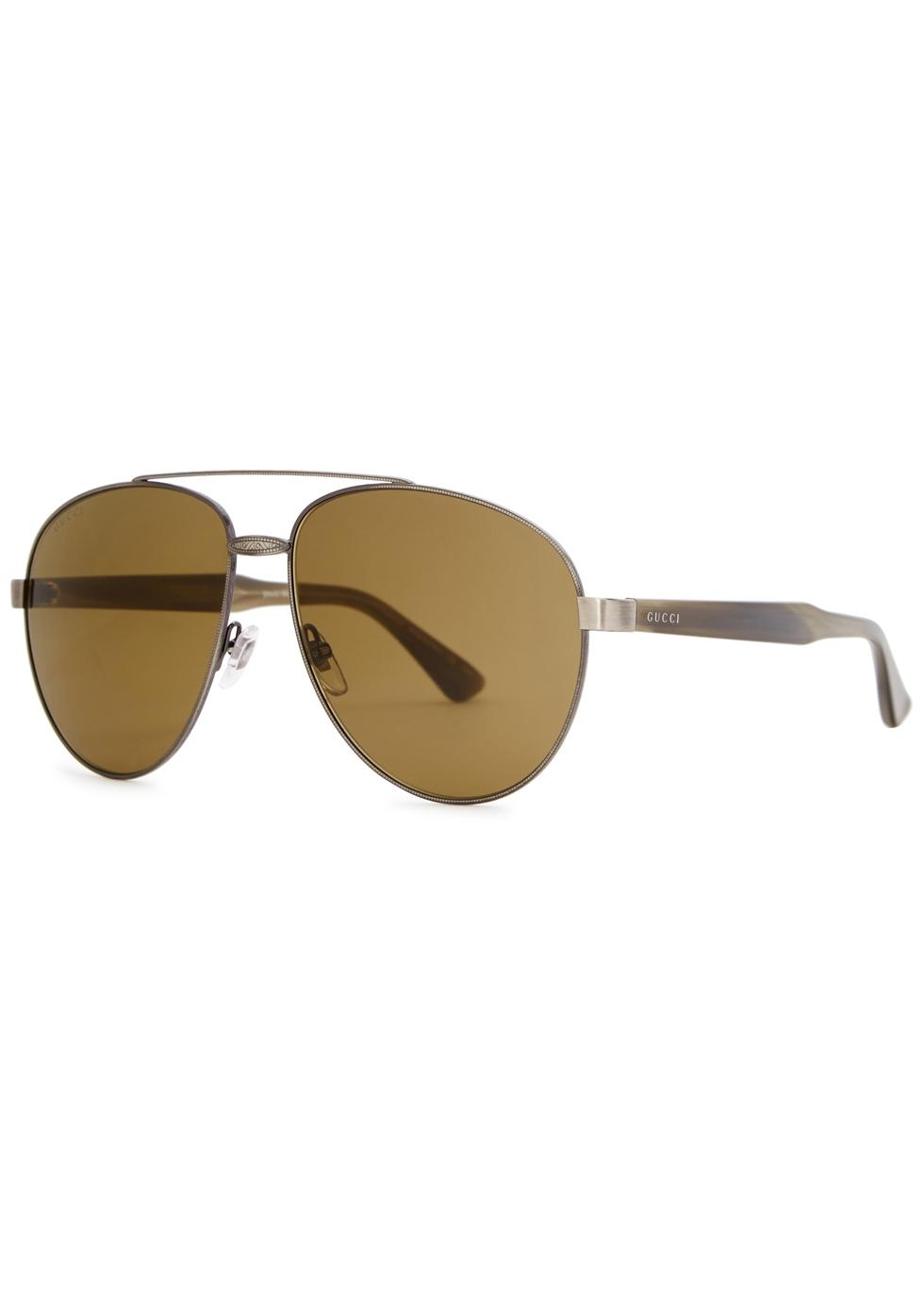 Gunmetal aviator-style sunglasses - Gucci