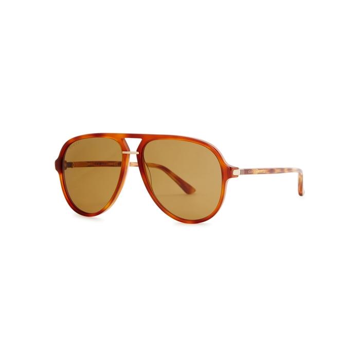 Gucci Tortoisehell Aviator-style Sunglasses