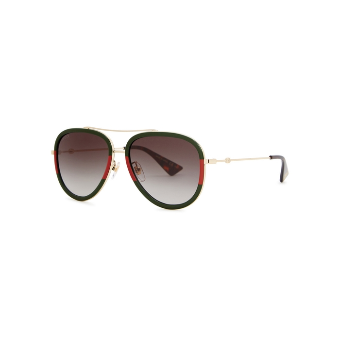 Gucci Gold Tone Aviator-style Sunglasses