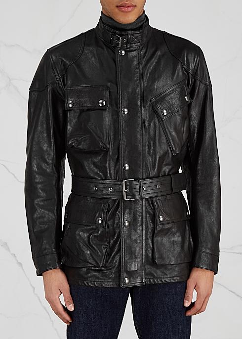 201c32975 Belstaff Panther black leather jacket - Harvey Nichols