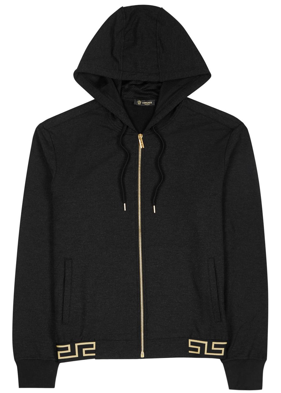 Black hooded modal blend sweatshirt