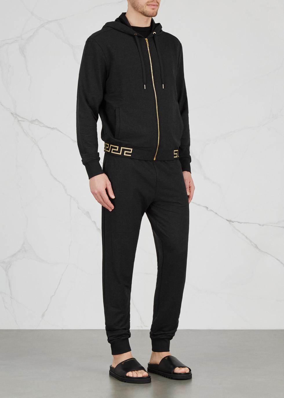 Black hooded modal blend sweatshirt - Versace