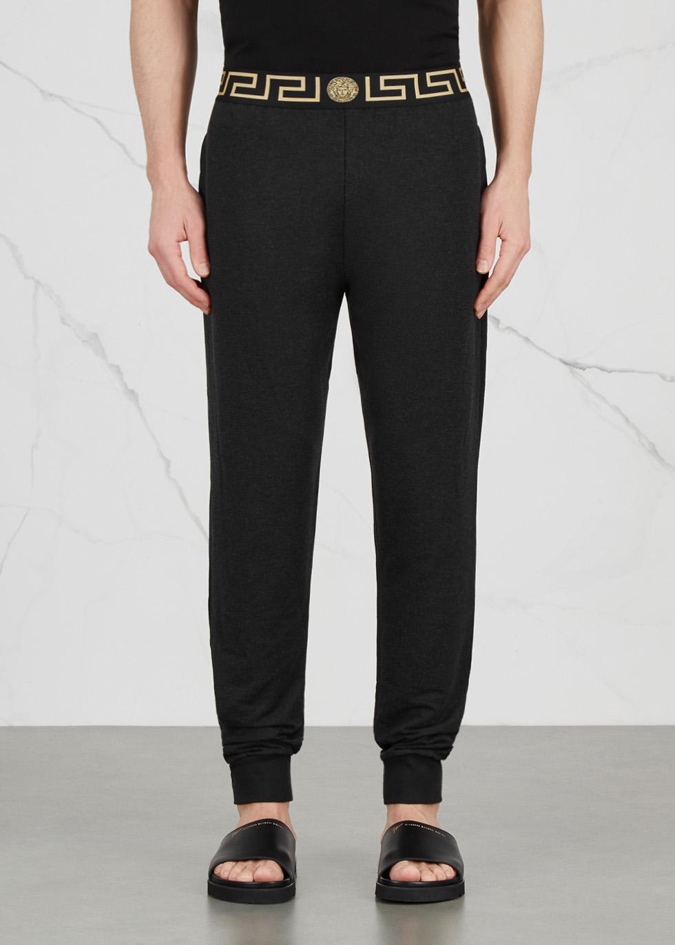 Black modal blend jogging trousers - Versace