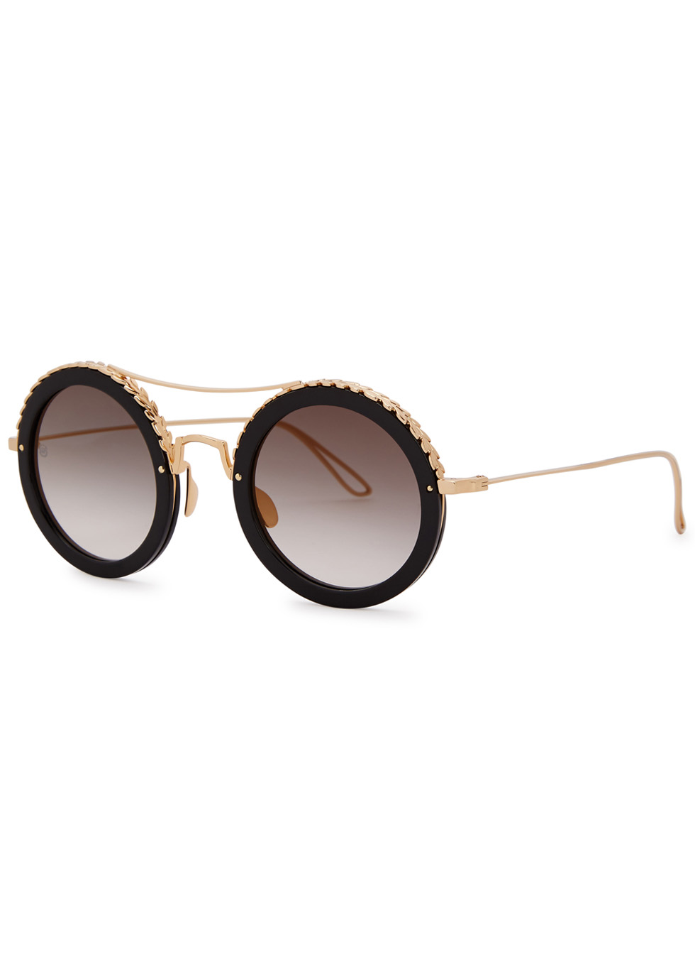 Gold-plated round-frame sunglasses - Elie Saab