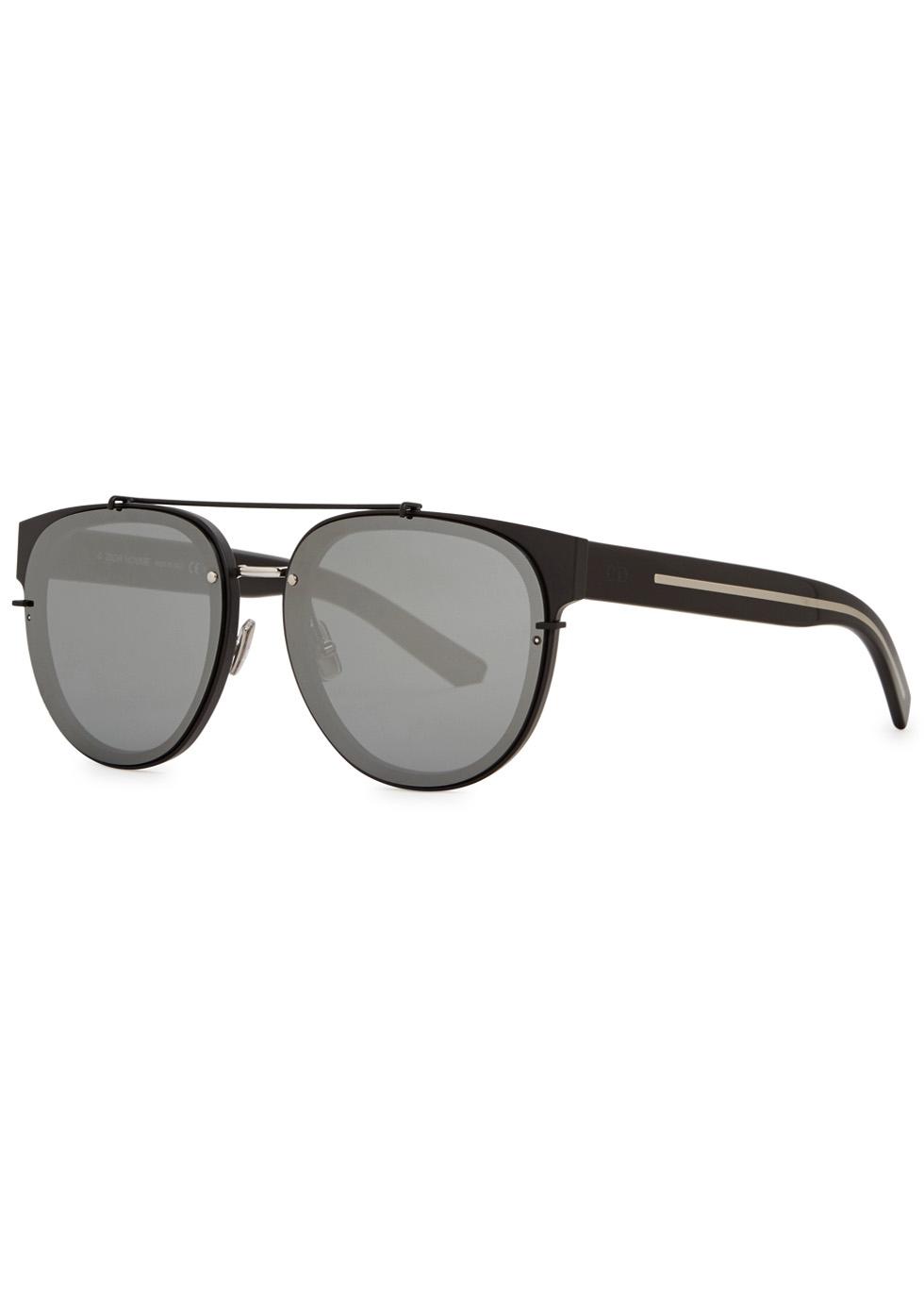 Black Tie 143S matte black aviator-style sunglasses - Dior Homme