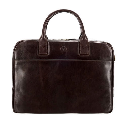Maxwell Scott Bags Chocolate Leather Business Bag For Macbook thumbnail