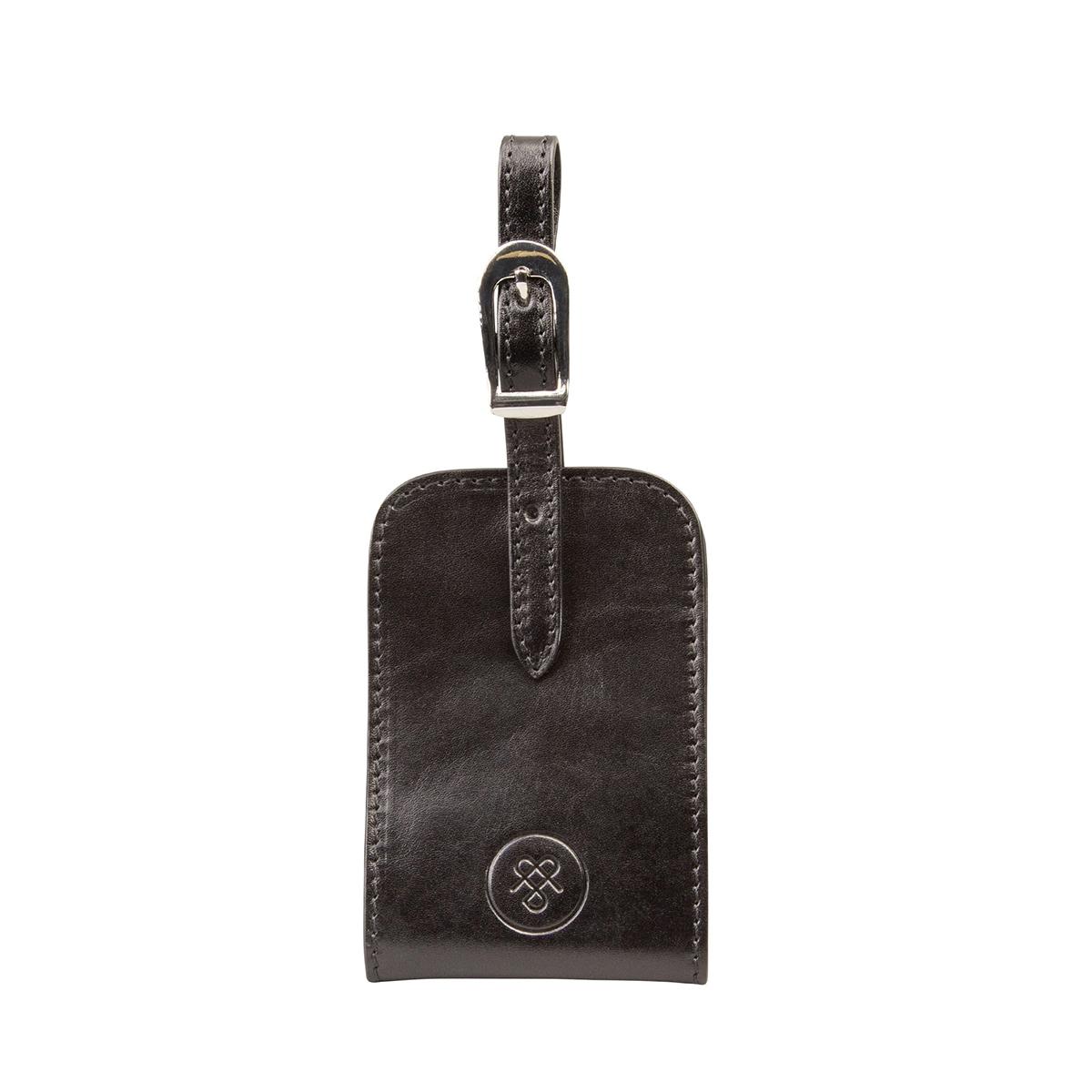 MAXWELL SCOTT BAGS Luxury Black Leather Id Luggage Tag