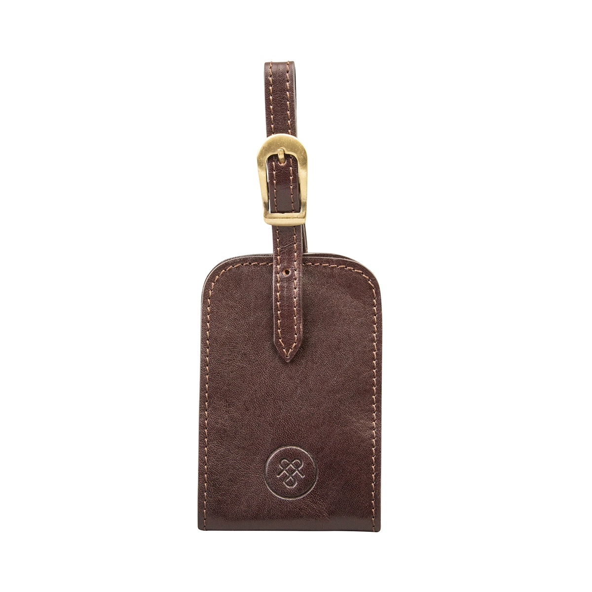 MAXWELL SCOTT BAGS Classic Italian Crafted Brown Leather Luggage Tag