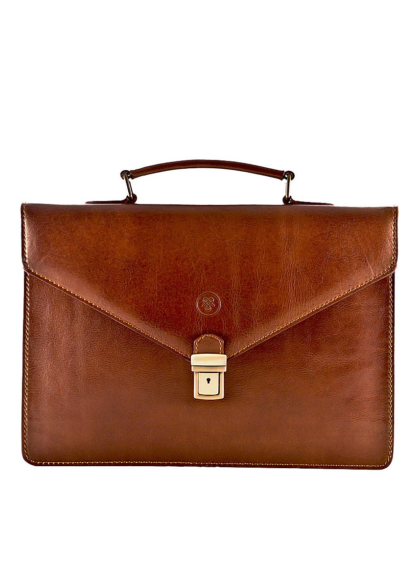 b633ce43c Rich chestnut tan leather slim briefcase for men Rich chestnut tan leather  slim briefcase for men. Online Only. Maxwell Scott Bags