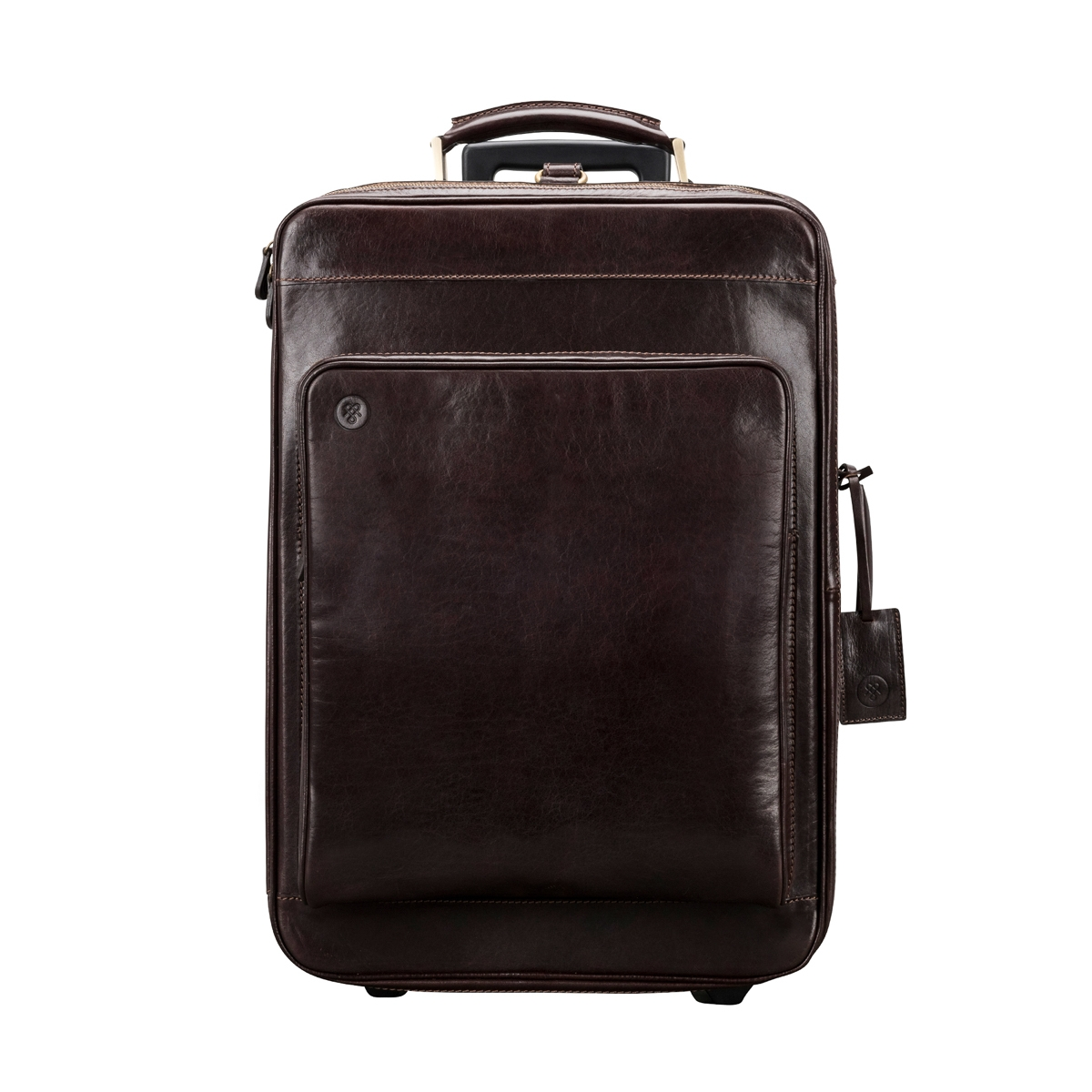 Handrafted real brown leather suitcase with wheels - Maxwell Scott Bags