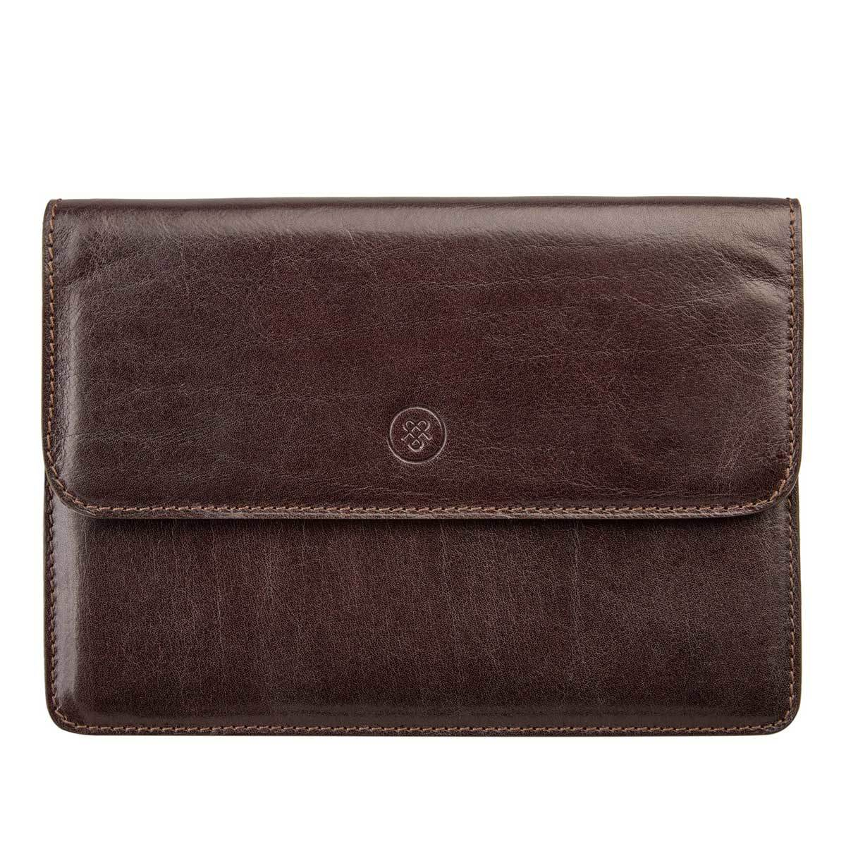 MAXWELL SCOTT BAGS Handcrafted Luxury Brown Leather Travel Wallet