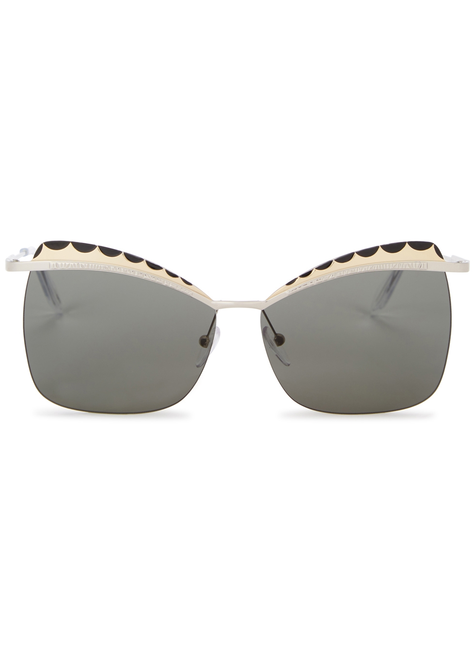 Silver tone butterfly-frame sunglasses - Alexander McQueen