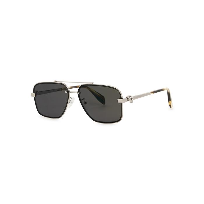 Alexander McQueen Silver Tone Aviator-style Sunglasses
