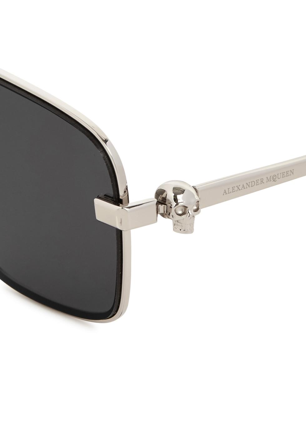 Silver tone aviator-style sunglasses - Alexander McQueen