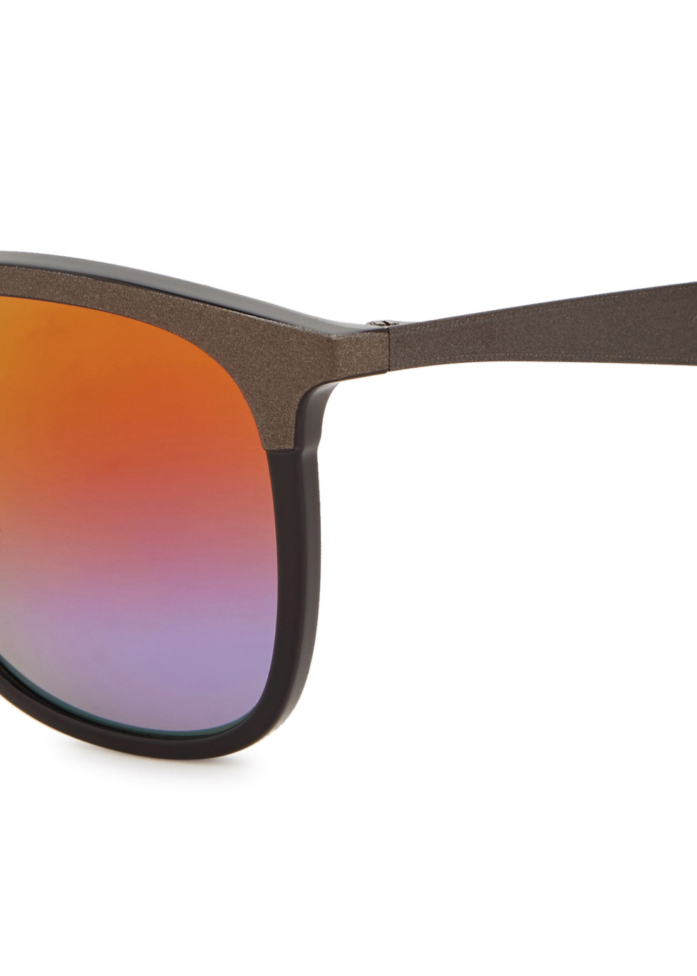 Matte black mirrored square-frame sunglasses - Ray-Ban