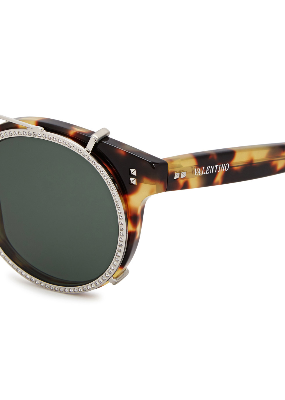 Rockstud Rivet tortoiseshell round-frame sunglasses - Valentino Garavani