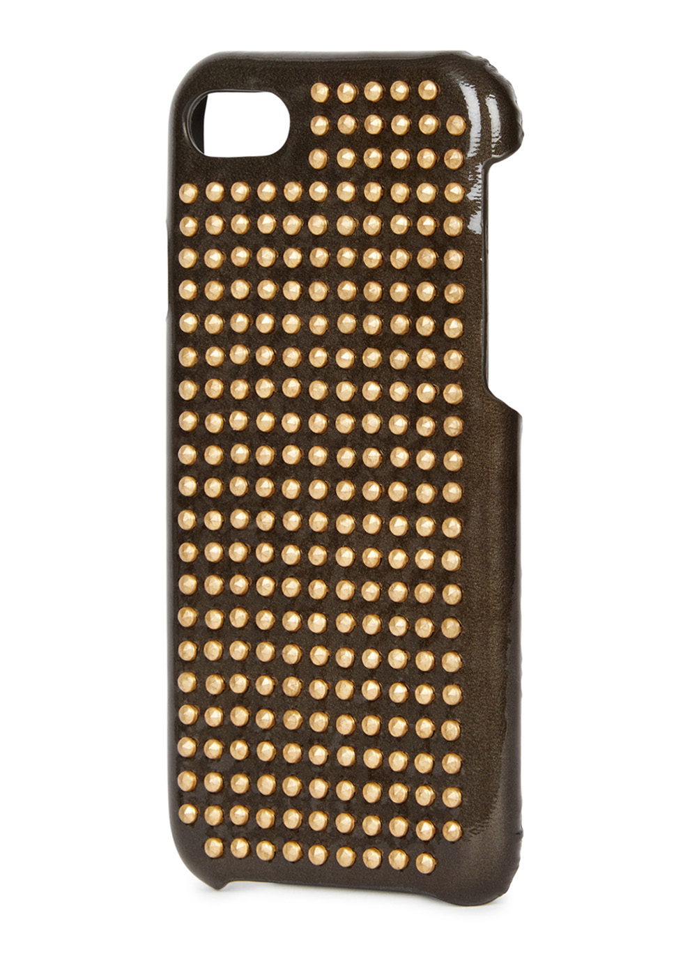 Gunmetal studded glossed leather iPhone 7 case - The Case Factory